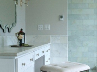 Marble vanity with custom cabinetry