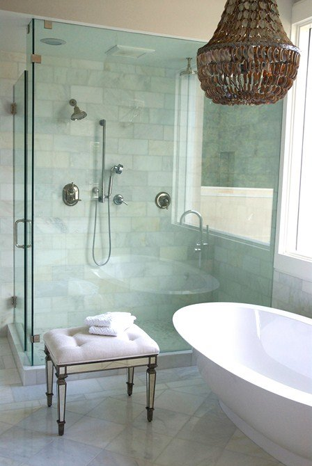 Abalone chandelier, Soaking Tub