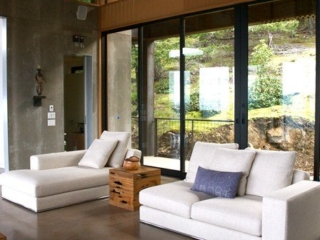 Great Room with linen covered lounge seating.