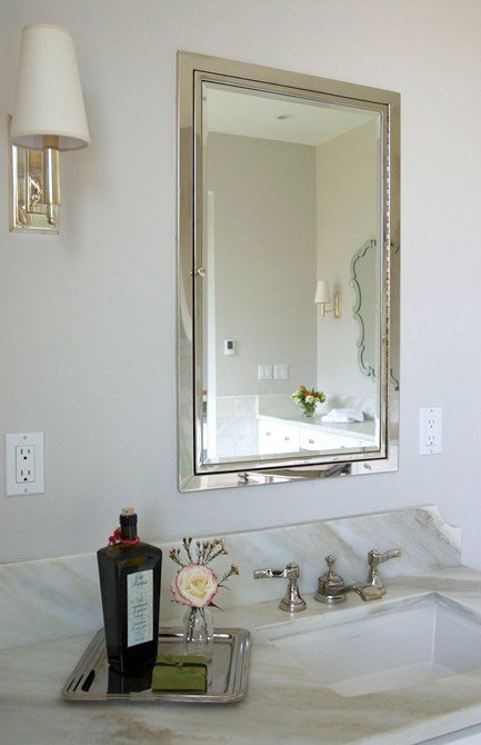 Nickel Wall Sconces, faucets and Medicine Cabinet