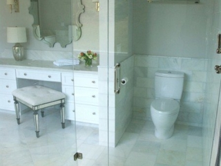 Calcutta marble tilework - Walls and Floors and custom cabinetry