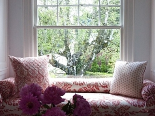 Master Bedroom Window Seat with Custom Textiles