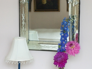 Antique Venetian mirror and Lamp
